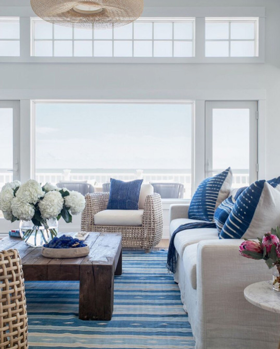 Get the look of this beachy blue and white livinghellip