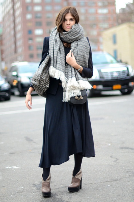 blanket scarf on Emily Weiss