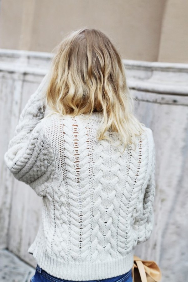 Cable Knit Sweater Off White - Gray Cardigan Sweater