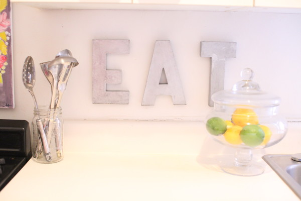 Metal Letters spelling out EAT in my kitchen