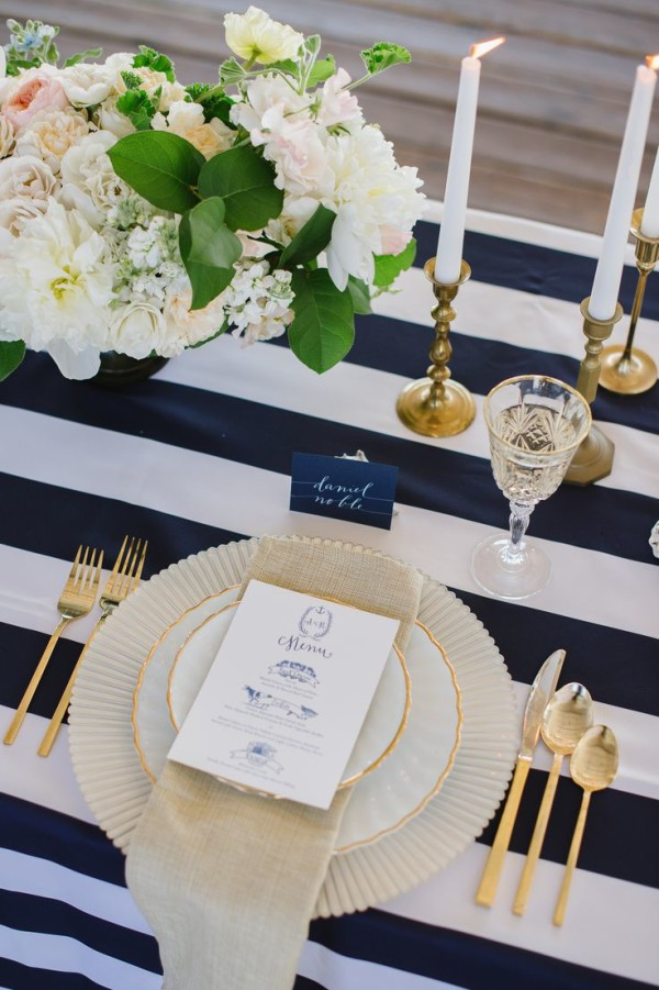Blue And White Stripe Table Setting