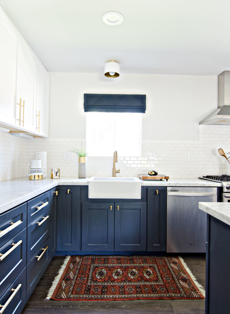 Having A Moment Navy And White Kitchen Cabinets