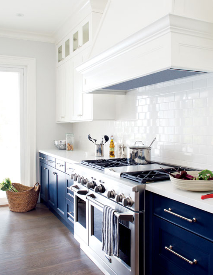 Having a moment navy and white kitchen cabinets lauren for Blue and white kitchen cabinets