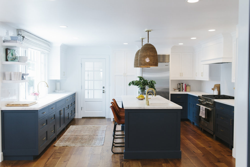 navy blue kitchen white cabinets