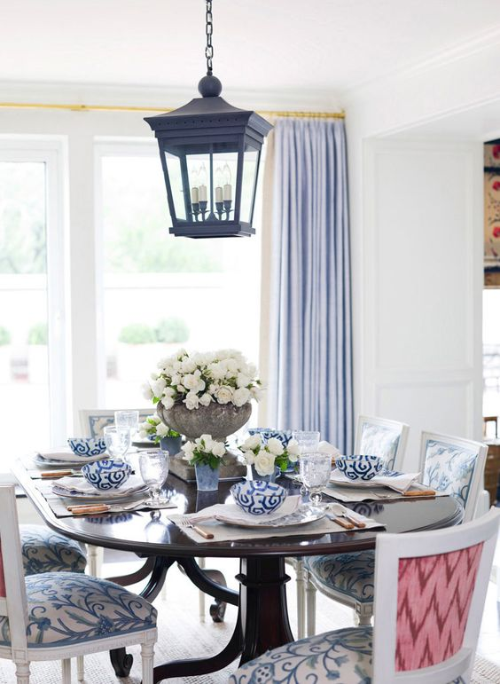 Blue tablescape Dinning Table White Interiors Blue Pendant Preppy Dinning Room