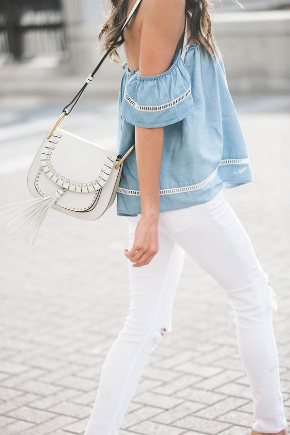 Blue top white jeans