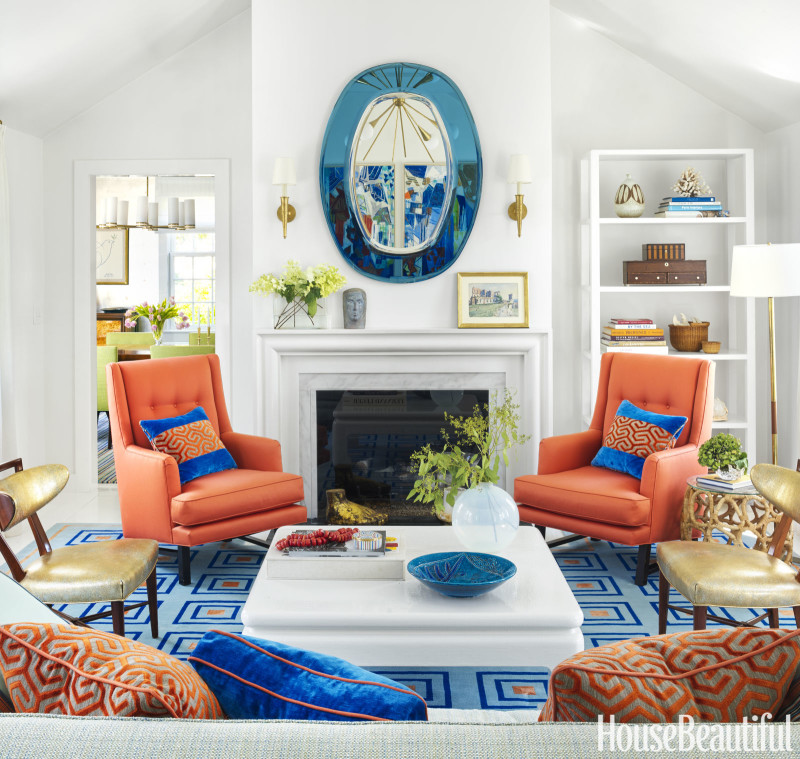 Green Living Room Ideas In East Hampton New York: A Colorful Nantucket Beach House