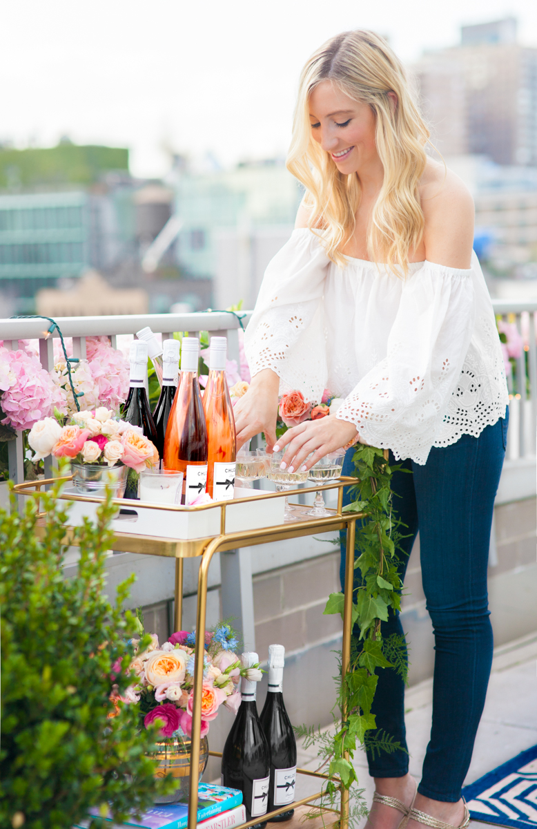 How to throw a flower crown party lauren nelson how to style a bar cart white off the shoulder top blue jeans izmirmasajfo