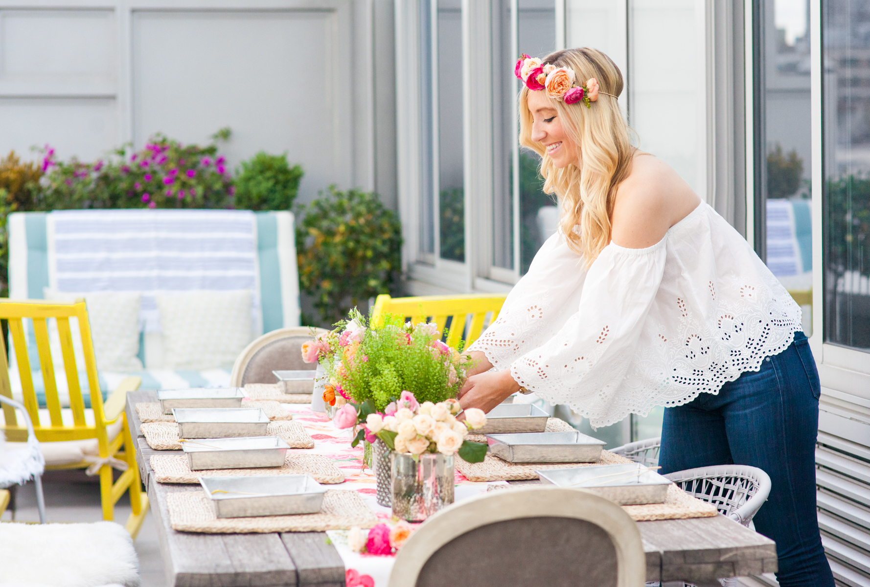 Party Ideas Outdoor Tablescape Fresh Flowers Flower Crown