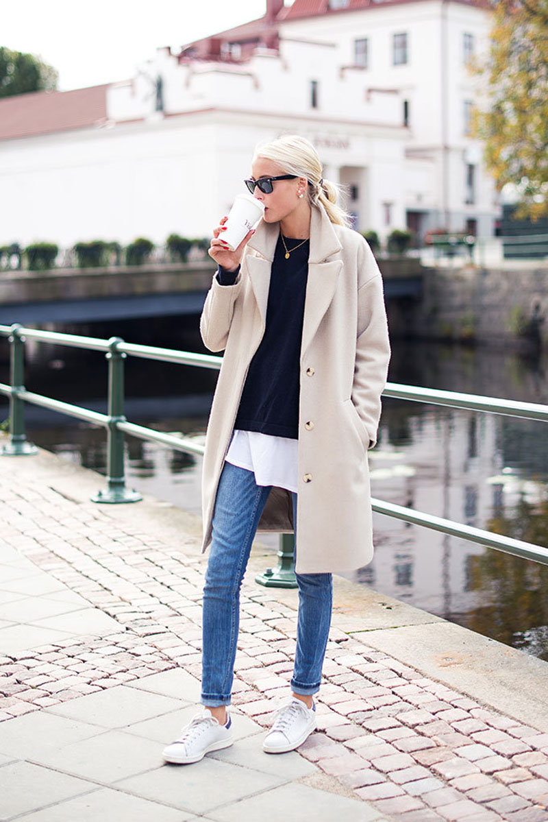 white sneakers in fall