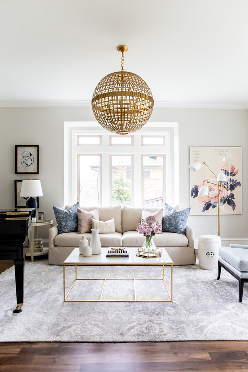 sophisticated living room. Navy Blush and Gold Living Room Interiors Decor Get the look  A chic sophisticated living room AOL Lifestyle