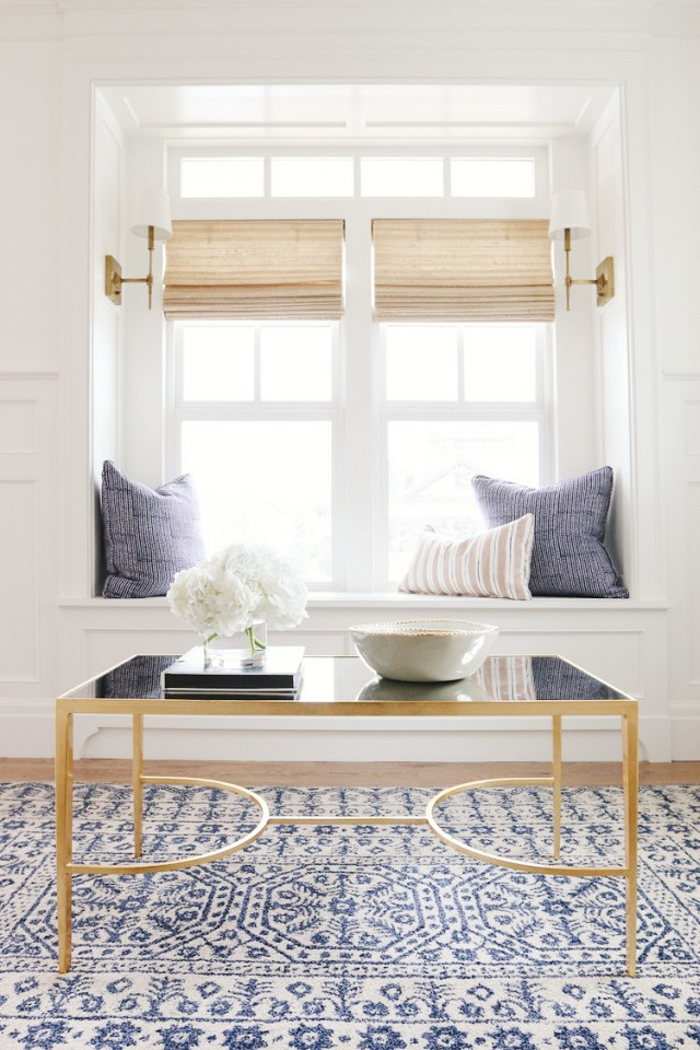my-domaine-white-paint-blue-and-white-rug-gold-coffee-table