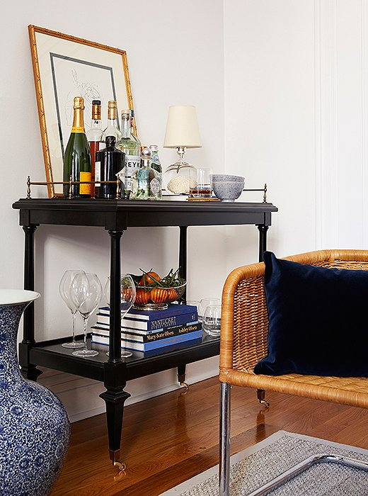 Navy-Bar-Cart-Blue-Ginger-Jar