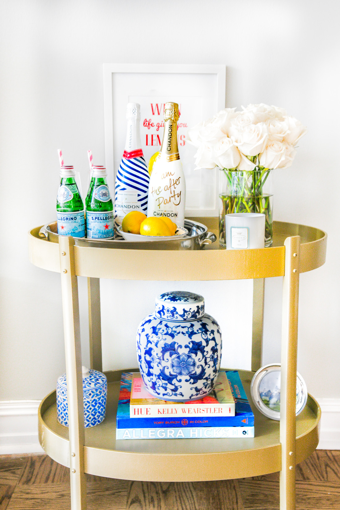 Gold-Bar-Cart-Blue-And-White-Ginger-Jars-Champagne