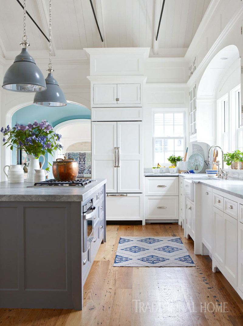 All-White-Kitchen-Grey-Pendants-Grey-Island