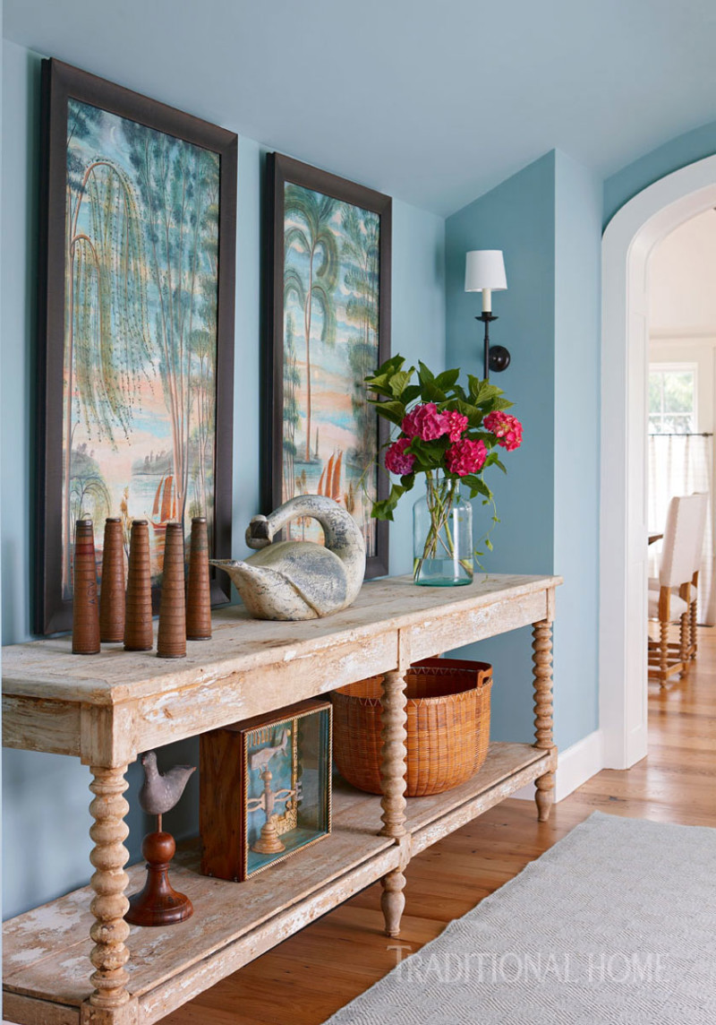 Natural-Wood-Entry-Table-Blue-Walls