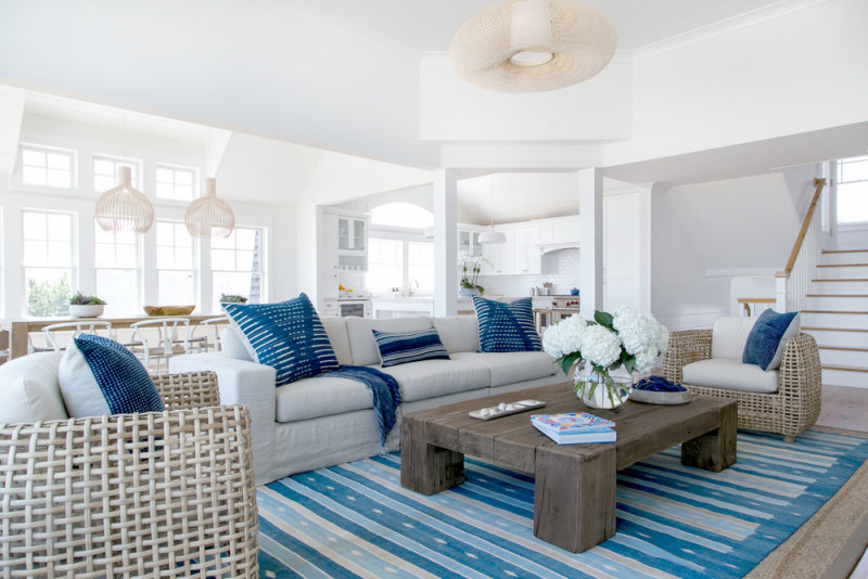 White-Linen-Slip-Covered-Couch-Blue-And-White-Rug