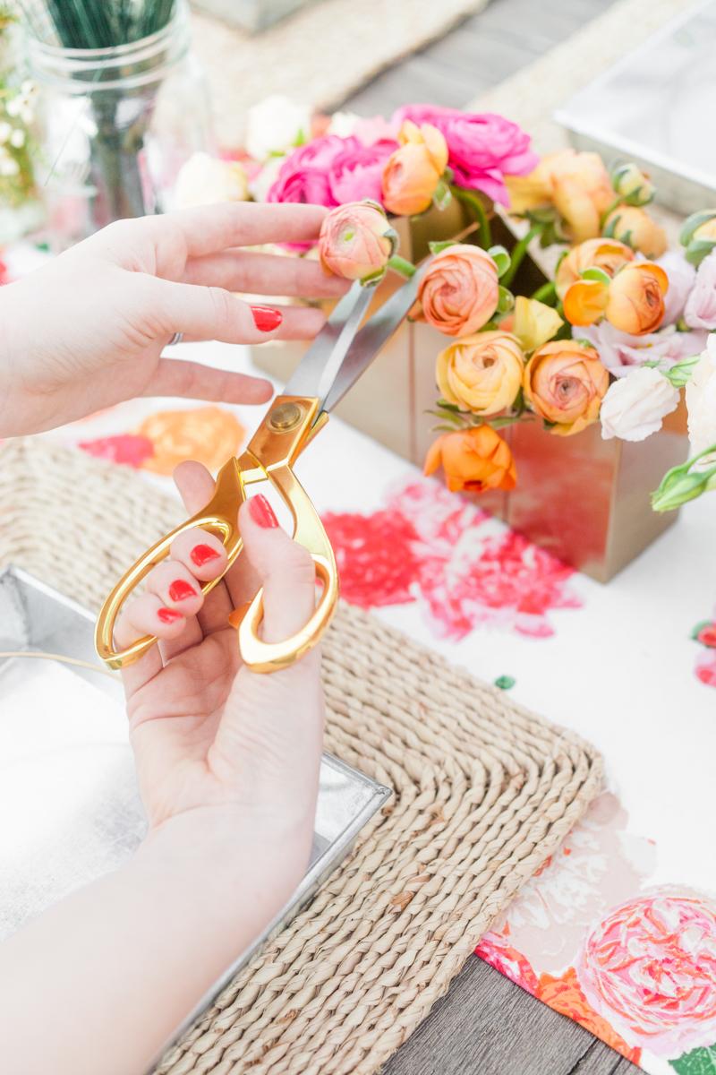 Gold Scissors Neutral Place mat Nate Burkus Target Roses