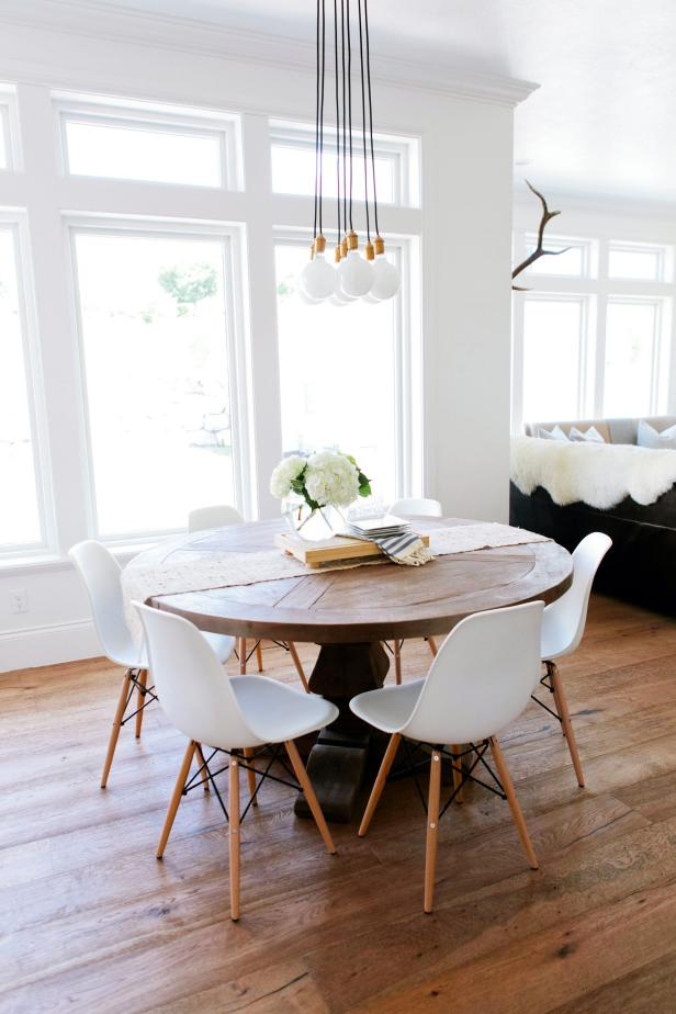 White Modern Chair Natural Wood Dinning Table